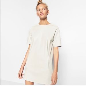 ZARA Trafaluc Light Gray Faux Leather Dress NYT